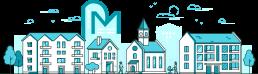 Illustration einer Stadt mit Immobilien